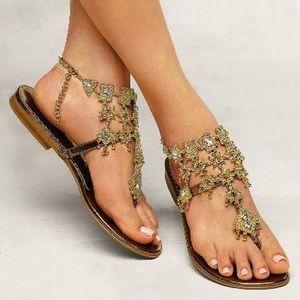 Colin Stuart Bronze Chandelier Thong Sandal Size 7